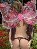 Kate teasing outdoors topless in a thong as a cute fairy from Kate's Playground